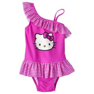 Hello Kitty Toddler Girls Asymmetrical 1 Piece Swimsuit   Pink 2T