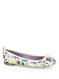 Gucci Ali Floral Print Leather Ballet Flats   Natural Floral
