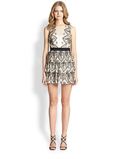 BCBGMAXAZRIA Collier Tiered Lace Dress   Ivory Black