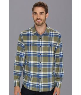Lucky Brand Gunnar Plaid 2 Pocket Mens Long Sleeve Button Up (Brown)