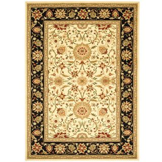Lyndhurst Collection Majestic Ivory/ Black Rug (6 X 9)