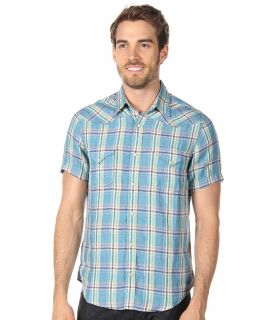 Lucky Brand San Mateo Linen Shirt Mens Short Sleeve Button Up (Blue)