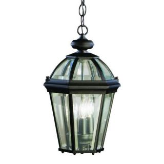 Kichler 9851BK Outdoor Light, Classic (Formal Traditional) Pendant 3 Light Fixture Black (Painted)