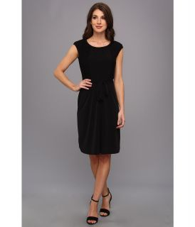 Calvin Klein Cap Sleeve Matte Jersey Dress w/ Lace Womens Dress (Black)