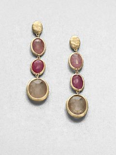 Marco Bicego 18K Yellow Gold & Multicolored Sapphire Drop Earrings   Gold