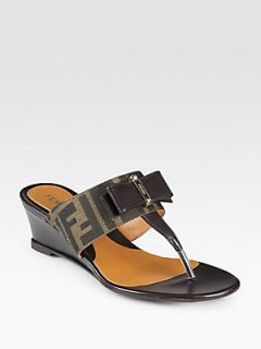 Fendi Logo Detail Canvas & Leather Bow Wedge Sandals   Tobacco Brown
