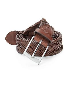 Henson Braided Leather Belt   Brown