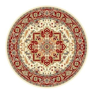 Lyndhurst Collection Ivory/ Red Area Rug (53 Round) (IvoryPattern OrientalMeasures 0.375 inch thickTip We recommend the use of a non skid pad to keep the rug in place on smooth surfaces.All rug sizes are approximate. Due to the difference of monitor col
