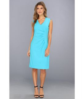 Calvin Klein Lux Side Ruched Sheath Dress Womens Dress (Blue)