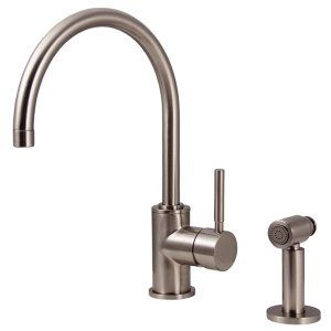Water Creation F5 0003 02 SP Monroe Gooseneck Kitchen Faucet With Mounting Plate