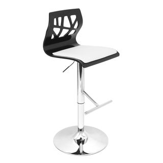 Folia Black Wood Adjustable Barstool (Black wood, white seatMaterials Wood, PU, foam, chromeHardware finish Chrome base, pole and footrestNumber of Stools OneSeat height Adjusts from 26 to 31 inchesBackrest height 12 inchesSeat dimensions 16 inches