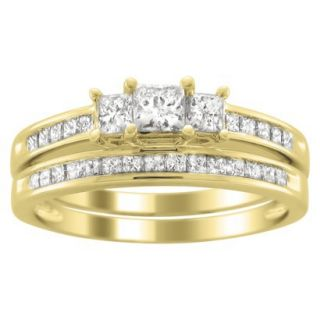1.0 CT.T.W. Bridal Set 3 Stone Ring in 14K Yellow Gold   Size6.5