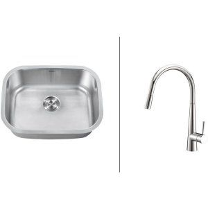 Ruvati RVC2482 Combo Stainless Steel Kitchen Sink and Chrome Faucet Set