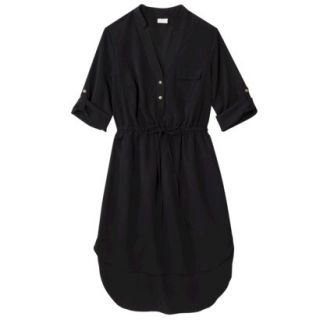 Merona Womens Drawstring Shirt Dress   Black   XS