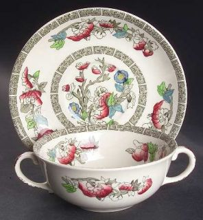 Johnson Brothers Indian Tree (Green Key, Cream) Flat Cream Soup Bowl & Saucer Se