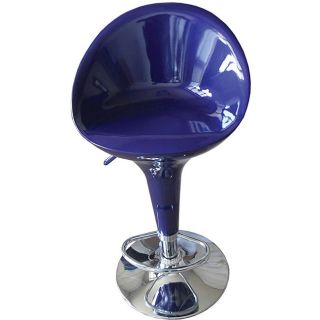 Sybill Adjustable Blue Chrome Finish Air Lift Stool (set Of 2) (Blue Materials ABS seat and back, metalFinish Chrome Adjustable air lift stoolDimensions 34 inches high x 18.5 inches wide x 20 inches deep )