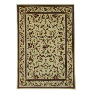 Lyndhurst Collection Traditional Ivory/ Ivory Rug (53 X 76) (IvoryPattern FloralMeasures 0.375 inch thickTip We recommend the use of a non skid pad to keep the rug in place on smooth surfaces.All rug sizes are approximate. Due to the difference of monit