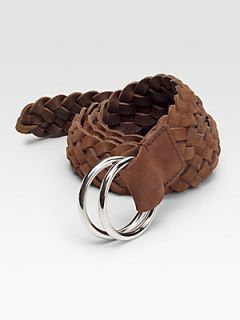 Brunello Cucinelli Braided Leather Belt   Brown