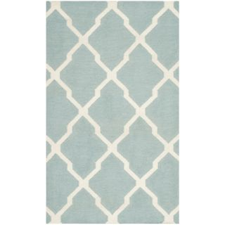 Safavieh Hand woven Moroccan Dhurrie Light Blue Wool Rug (3 X 5)