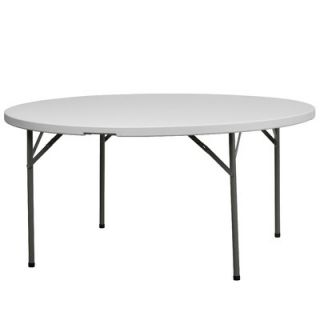 FlashFurniture 60 Round Blow Molded Plastic Folding Table in Granite White D