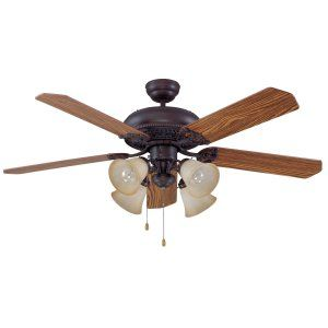 Ellington Fans ELF E MAN52ABZ5C4 Manor 52 Ceiling Fan w/ 4 Tea stained Lights l