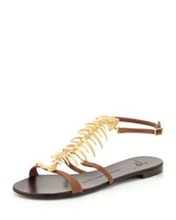 Womens Fish Bone Flat Sandal, Brown/Gold   Giuseppe Zanotti