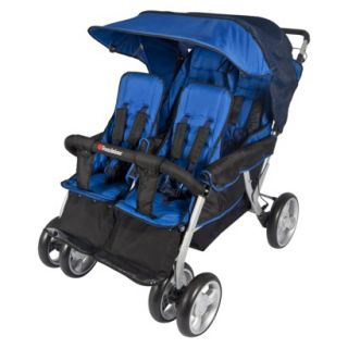 Quad LX Blue Commercial Grade Four Passenger Dual Canopy Folding Stroller by