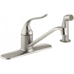 Kohler K 15172 F BN Coralais Single Handle Kitchen Faucet with Sidespray