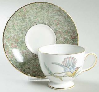 Wedgwood Humming Birds Leigh Shape Footed Cup & Saucer Set, Fine China Dinnerwar