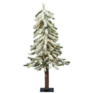 3 Pre Lit White Flocked Alpine Tree   Clear Lights