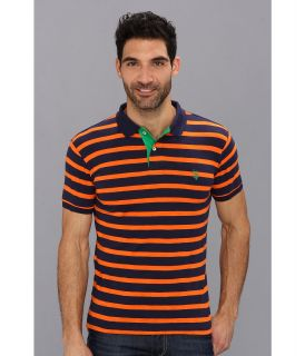 U.S. Polo Assn Stripe Slub Polo Mens Short Sleeve Knit (Orange)