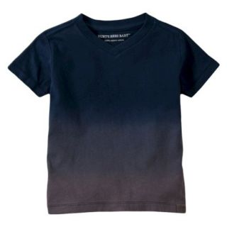 Burts Bees Baby Toddler Boys Dip Dye V Neck Tee   Grey/Navy 2T