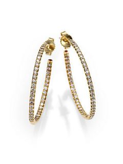 Roberto Coin Diamond & 18K Yellow Gold Hoop Earrings/1.2   Gold
