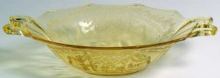 Fostoria June Topaz/Yellow Large Dessert Bowl   Stem #5098, Etch #279, Yellow