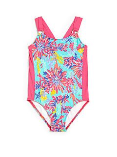 Lilly Pulitzer Kids Toddlers & Little Girls Wren Swimsuit   Aqua Pink
