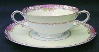 Noritake Harmony (Gold Trim) Footed Cream Soup Bowl & Saucer Set, Fine China Din