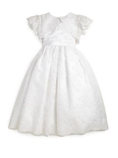 Joan Calabrese Little Girls Two Piece Lace Dress & Cropped Bolero Set   White