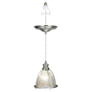 Worth Home Products Instant Pendant Light with Holophane Glass Cage   Brushed