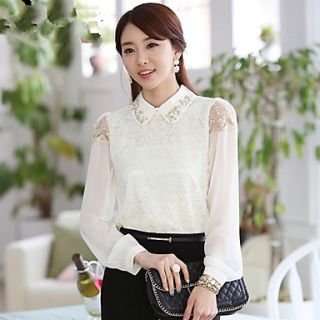 Womens Spring Beads Lace Long Sleeve Shirt
