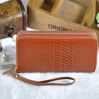 Womens Fashion Casual Double Zipper Cowhide Large Capcity Wallet