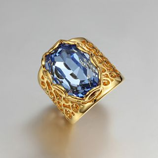 High Quality Vintage Gold Plated Blue Cubic Zirconia Oval Pierced Womens Ring