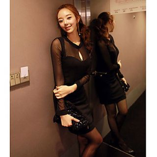 SNY Womens Sexy Cut Out Mesh Sleeve Dress
