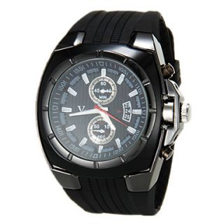 Mens Military Style Black Dial Silicone Band Quartz Wrist Watch