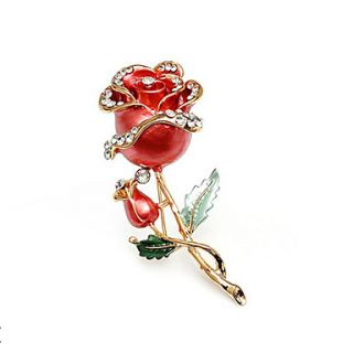 Beautiful Alloy With Rhinestones Rose Brooch