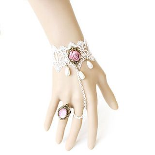 Pink Gem Flower Pattern Pearl White Lace Bracelet