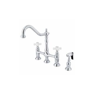 Elements of Design ES1273PXBS New Orleans Two Handle Kitchen Faucet With Spray