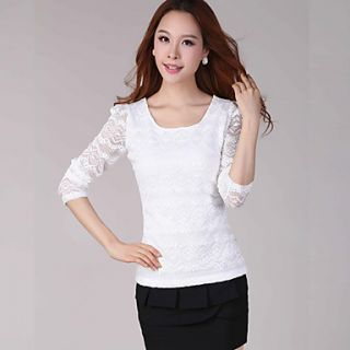 E Shop 2014 Summer Sweet Graceful Lace Long Sleeve Shirt (White)