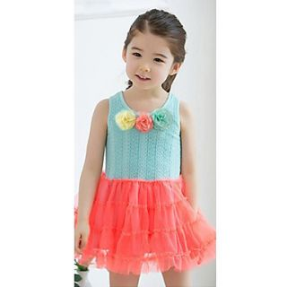 New Cute Kids Girls Vest Dresses Three Flowers Tutu Dress Casual Wear 2 Colors