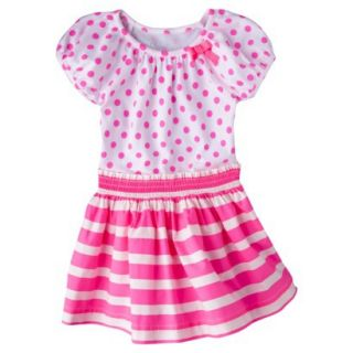 Cherokee Infant Toddler Girls Short Sleeve Dress   Dazzle Pink 18 M