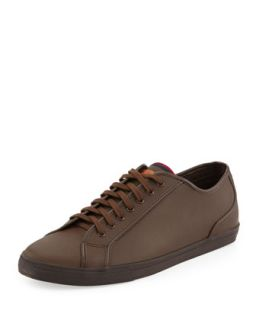 Breckon Low Top Leather Sneaker, Dark Brown